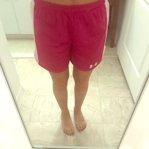 Pink Under Armour gym shorts